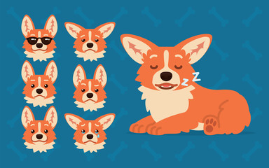 Cute Welsh Corgi constructor. Vector illustration of Corgi dog slipping and its head shows different emotions in flat cartoon style on blue background. Smiley. Element for your design. Emoticon.