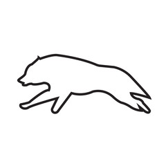 wolf running outline on white background