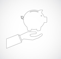 hand with pig bank icon