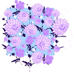 Lilac purple hues floral illustration repeating background