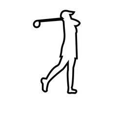 female golfer outline on white background