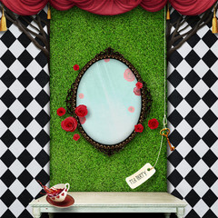 Conceptual fantasy background  for illustration or poster with  photo wall Wonderland.