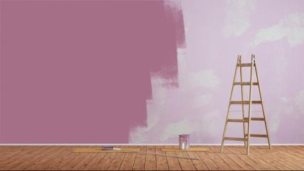 Wand streichen mit lila Wandfarbe