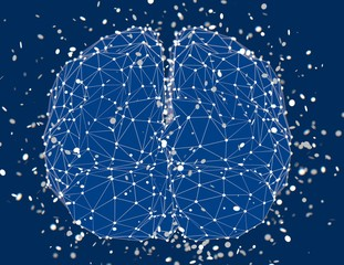 Blue polygonal brain with particles, artificial intelligence concept 3d abstract linear render.