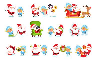 Santa Claus and Snow Maiden Vector Illustration