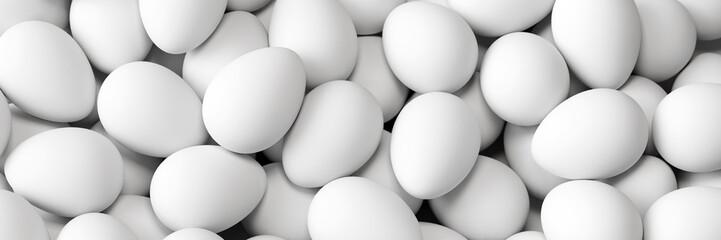 Weiße Eier als Panorama Hintergrund zu Ostern