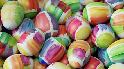Viele Ostereier zu Ostern mit Wasserfarben