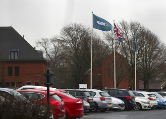 Branding is seen outside the headquarters of GKN in Redditch