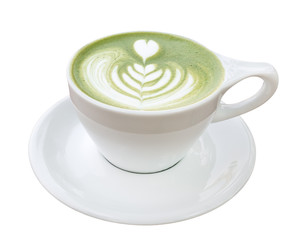 Hot matcha green tea latte art foam isolated on white background, clipping path included