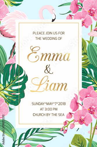 wedding marriage event invitation card template tropical jungle