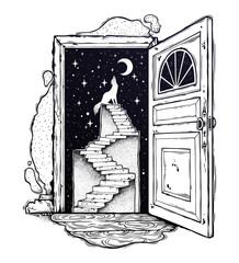 Open door into a dream, stairway to the sky, wolf.