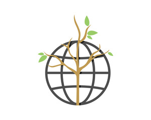 globe dead tree leafless plant fall image vector icon