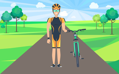 Man on Road Holding Bicycle Illustration