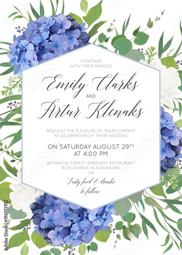 Hydrangea square invitation template – download & print.