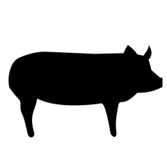 black pig silhouette clip art on white background