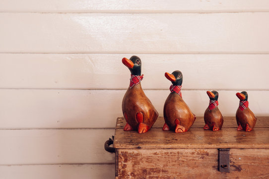 Handmade vintage  carved wood duck model for home decoration on retro wooden box