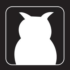 white owl silhouette clip art on black background