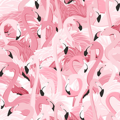 Pink flamingos seamless pattern. Random overlap exotic wading birds flock flamboyance. Detailed beaks, necks, feather, body. Standing posture. Zoo bird park. Vector design illustration.