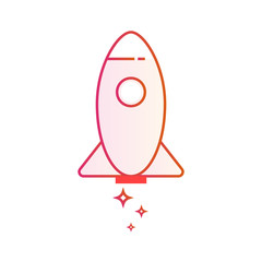 Start up business. Outlined icon rocket startup. Gradient line vector illustration isolated on white background.