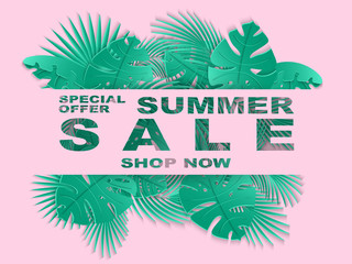 Summer sale banner with carved tropical palm leaves. Exotic floral background, design for banner, flyer, poster, invitation, web site, presentation, wallpaper. Paper cut out style. Vector illustration