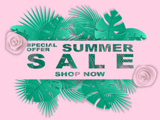 Summer sale banner with carved leaves of palm tree. Exotic floral background, design for banner, flyer, poster, invitation, web site, presentation, wallpaper. Paper cut out style. vector illustration.