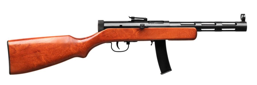 vintage machine gun isolated on white