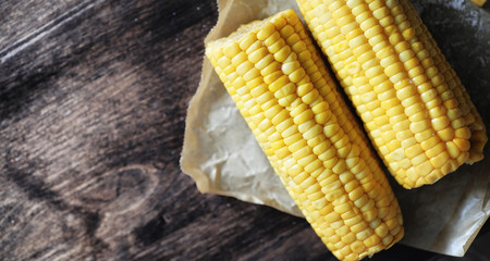 Fresh corn. Natural food from corn cob with salt. Rural Mexican