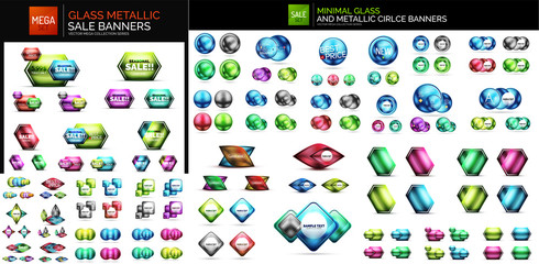 Mega collection of glossy geometric shiny glass geometric sale buttons. Promo web boxes templates
