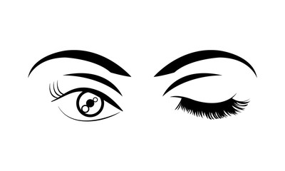 woman stinging eye with eyebrows and eyelashes