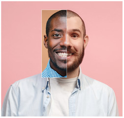 Collage from two images of smiling african and caucasian men