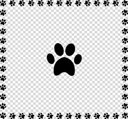 Black animal s paw print icon framed with paws
