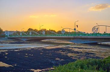 The sunset over the Ferdowsi bridge in Isfahan, Iran