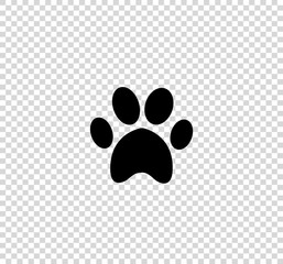Black animal pawprint icon isolated on transparent background.