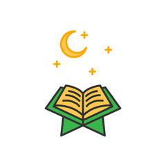 Read Quran at night time. Simple monoline icon style for muslim ramadan and eid al fitr celebration.