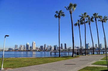 The San Diego, California skyline from Coronado Island.
