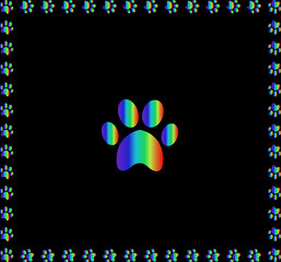 Rainbow animal paw print sign framed with multicolored paw print
