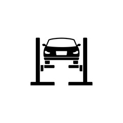 Car Lift. Filled Car Service. Flat Vector Icon. Simple black symbol on white background
