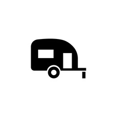 Caravan Trailer Home. Flat Vector Icon. Simple black symbol on white background