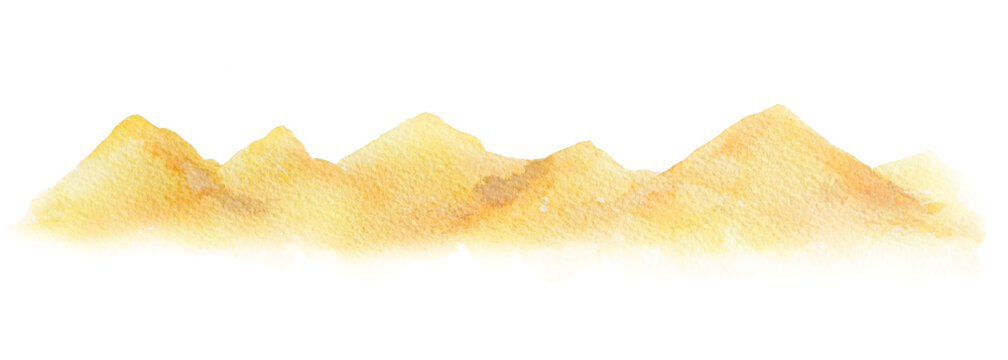 Watercolor horizontal background of a landscape with a desert.