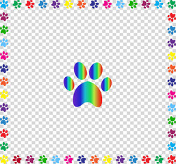 Rainbow animal paw print framed with multicolored paw prints  bo