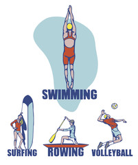 Sport background. Swimming, surfing, roving, volleyball.
