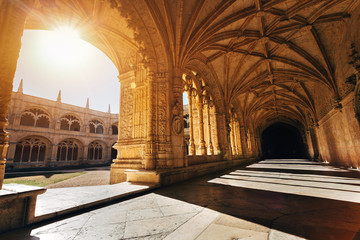 Old medieval Cathedral Architecture. Jeronimos Monastery in Lisbon, Portugal