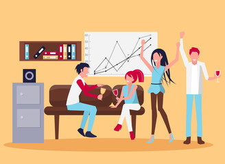 Smiling People in Office Wine Vector Illustration