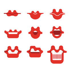 Mouth catroon vector smile set. Funny Cartoon mouths set with different expressions. Smile with teeth, opem mouth with  tongue, surprised.Red lips.Simple vector illustration.Collection of mouth poses