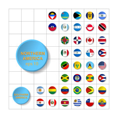 Flat Round Flags of America - Full Vector CollectionVector Set of American Flag Icons:North America, , South America