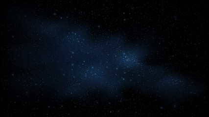 Starry sky is blue. Amazing sky. The stars glow in complete darkness. Stunning galaxy. Open space. Milky Way. Vector illustration