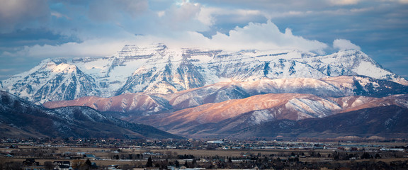 Snowy scene with Mount Timpanogos, Utah, USA.