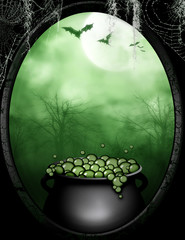 A premade background of a witches cauldron with a black frame.