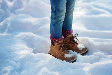 Boots in the snow, Girl boots walking snow weather