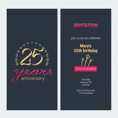 25 years anniversary invitation vector
